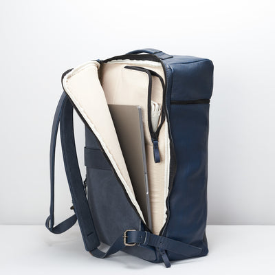 Back compartment for 17 inch laptops, MacBook and cables. Banteng Ocean Blue Laptop Backpack for Men by Capra Leather