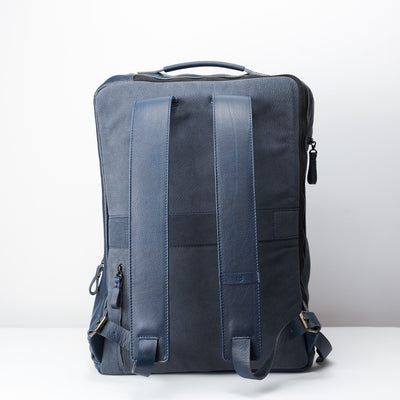 Back suede. Banteng Ocean Blue Laptop Backpack for Men by Capra Leather