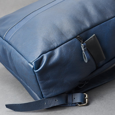 Side pocket. Banteng Ocean Blue Laptop Backpack for Men by Capra Leather