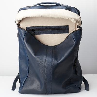 Linen interior. Banteng Ocean Blue Laptop Backpack for Men by Capra