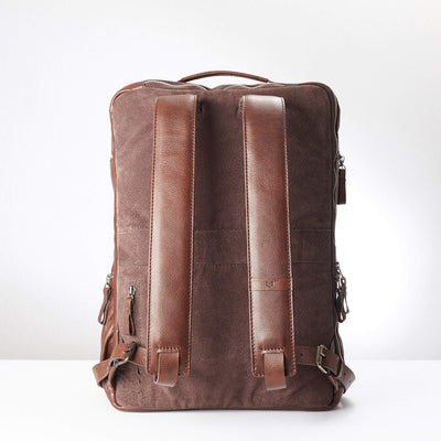 Back. Banteng Brown Laptop Backpack for Men by Capra Leather
