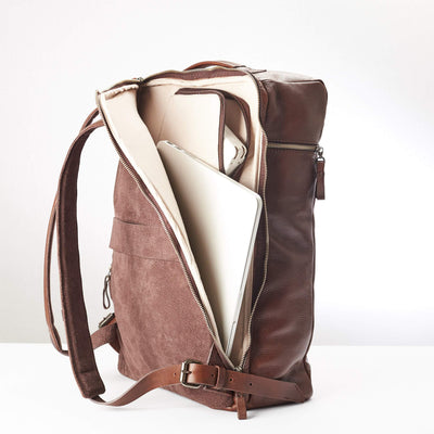 Inside Laptop Pocket. Banteng Brown Laptop Backpack for Men by Capra Leather
