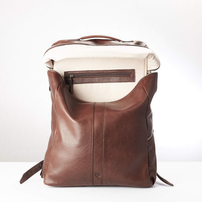Main Pocket. Banteng Brown Laptop Backpack for Men by Capra Leather