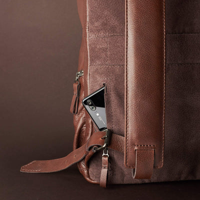 Phone Pocket Detail. Banteng Brown Laptop Backpack for Men by Capra Leather