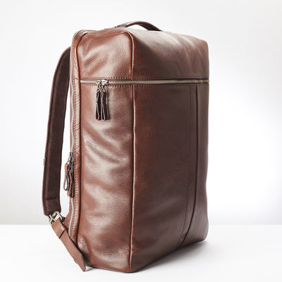 Side Front. Banteng Brown Laptop Backpack for Men by Capra Leather