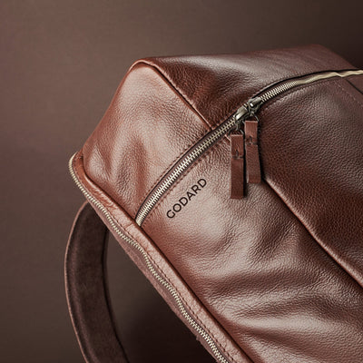 Engraving detail. Banteng Brown Laptop Backpack for Men by Capra Leather