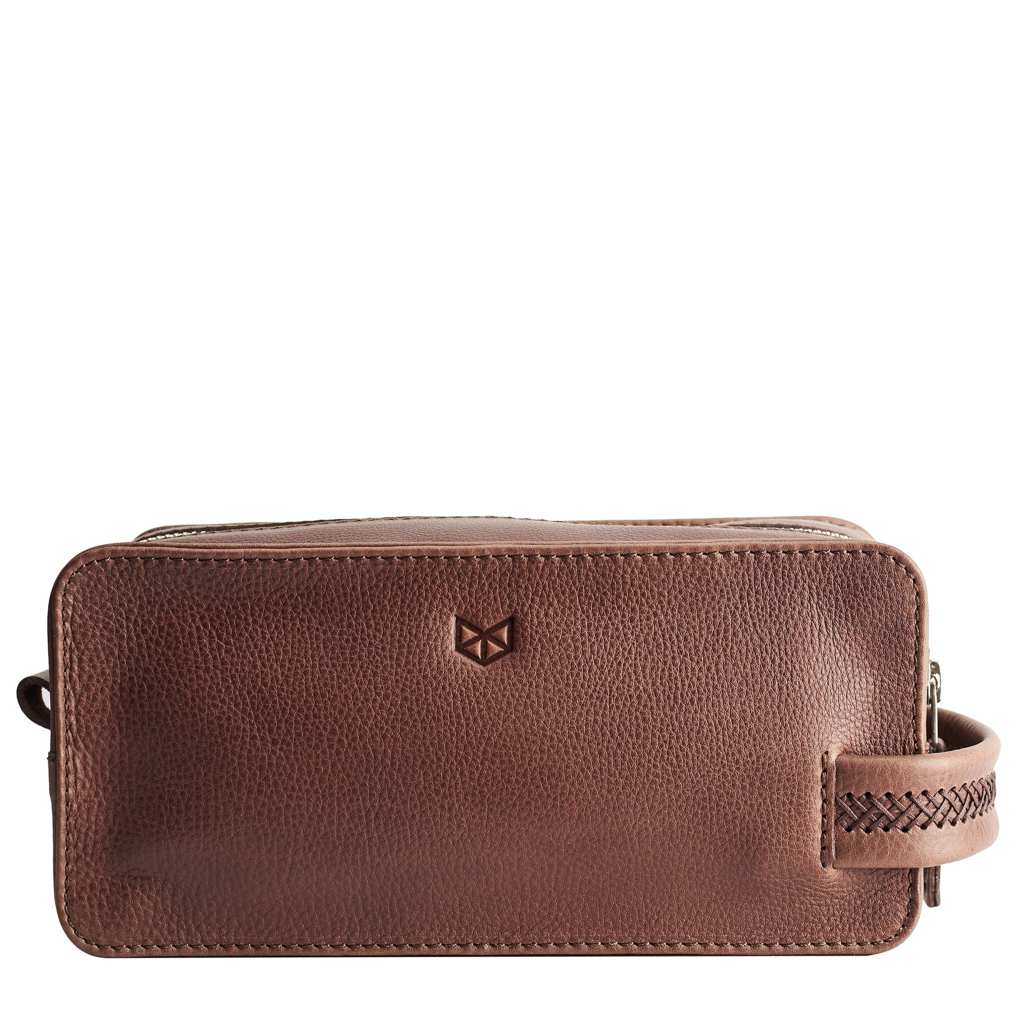 Brown leather toiletry, shaving bag with hand stitched handle. Groomsmen gifts