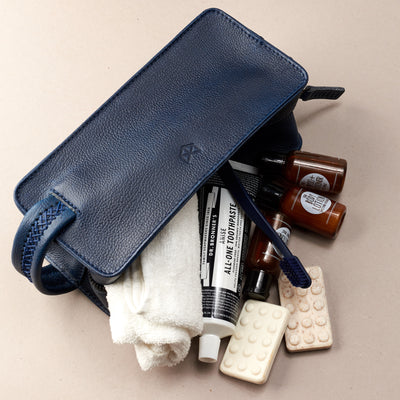 Styling 2. Ocean blue leather toiletry, shaving bag with hand stitched handle. Groomsmen gifts. Leather good crafted by Capra Leather