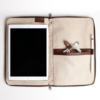 "iPad Pro 10.5"" bag.  Brown Leather Laptop Portfolio Case. Laptops & devices Bag."