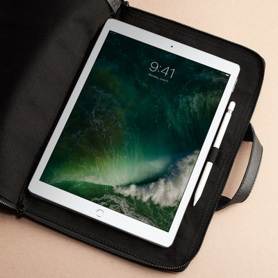 "iPad Pro 12.9"" bag. Black laptop portfolio. Business document organizer for men."