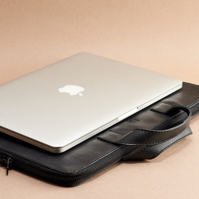 "MacBook 13"" bag. Black laptop portfolio. Business document organizer for men."
