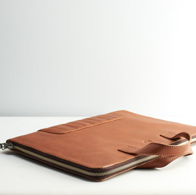Slim briefcase. Tan laptop portfolio. Business document organizer for men.