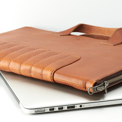 Designer laptop briefcase. Tan leather laptop portfolio. Business document organizer for men.