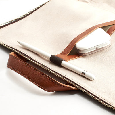 Double sided pocket.  Tan leather laptop portfolio. Business document organizer for men.