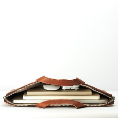 Carry electronic devices, documents and notebooks. Tan laptop portfolio. Business document organizer for men.