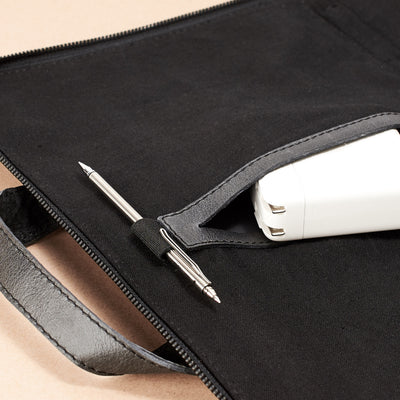 Interior pocket and pen holder. Black laptop portfolio. Business document organizer for men.