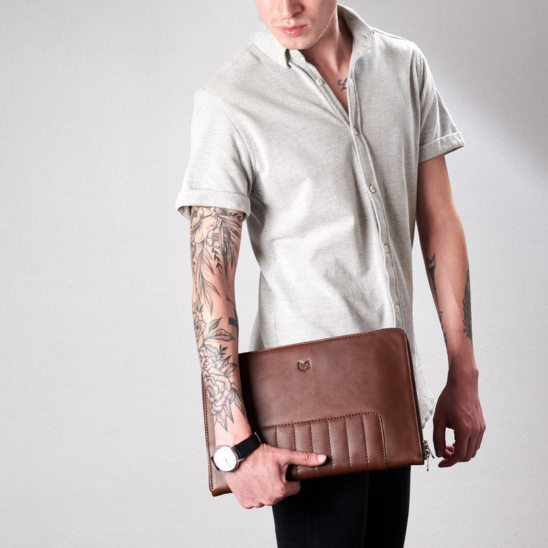 Cover. Brown Leather Laptop Portfolio Case. Laptops & devices Bag.