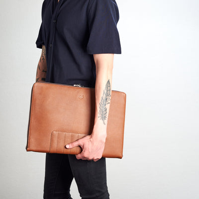 Tan Biker portfolio style front view by Capra Leather.