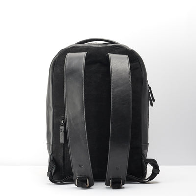 Breathable back suede material. Black leather backpack for men
