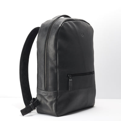 Angle.Black leather backpack for men. Gifts for men