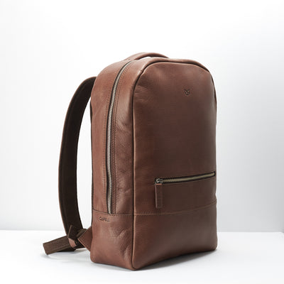 Angel. Minimalist custom brown leather backpack. Personalized mens gifts.