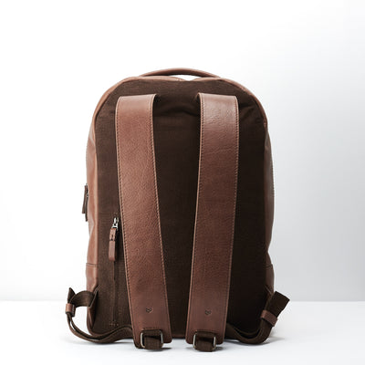 Breathable back suede. Minimalist brown leather backpack for men.