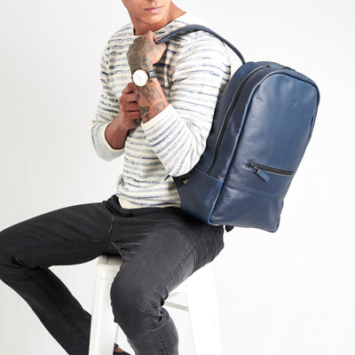 Style backpack side view. Bisonte blue by Capra Leather.