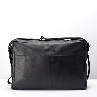 Back handmade leather messenger bag for men. Commuter bag, laptop leather bag by Capra Leather.