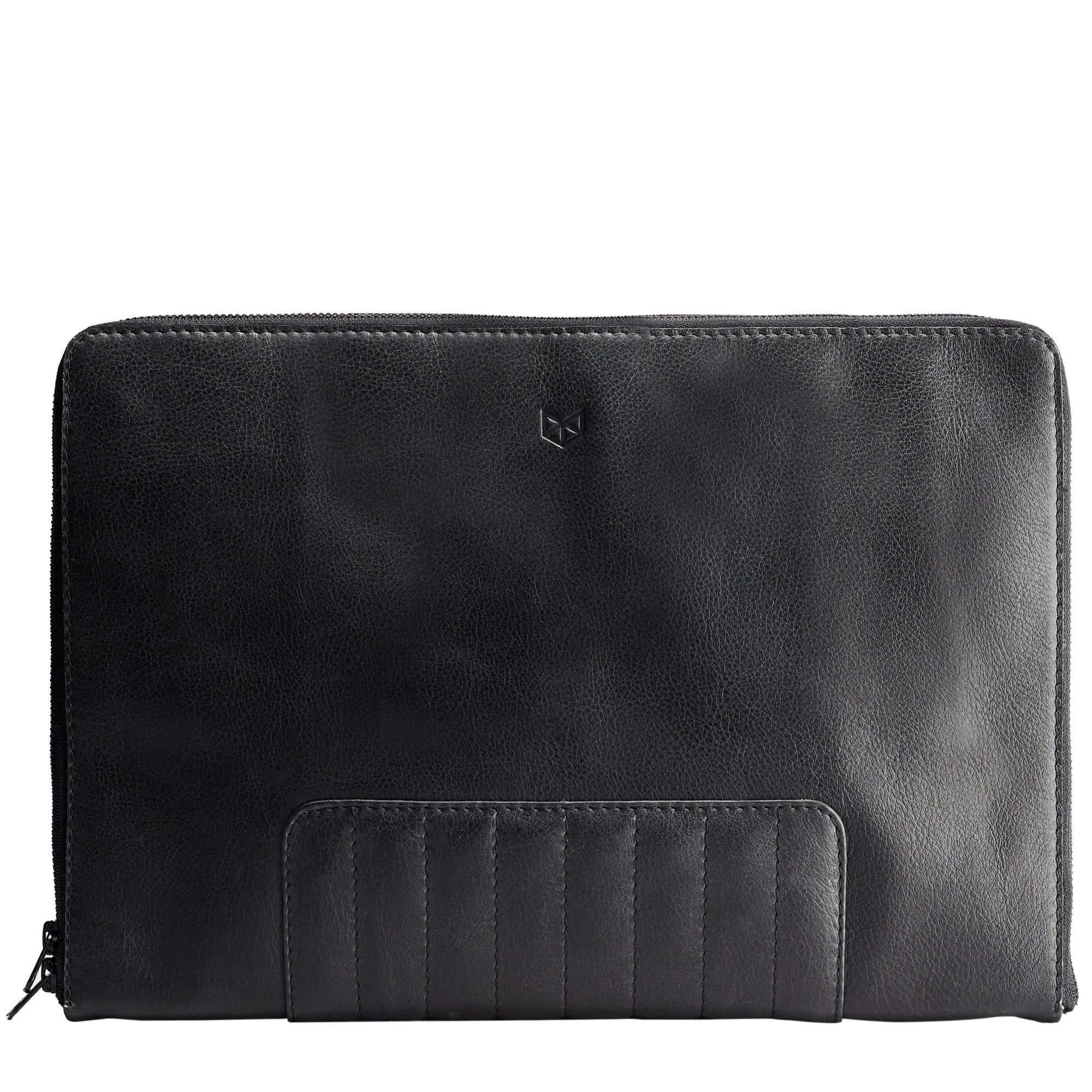 Cover. Black laptop portfolio. Business document organizer for men.