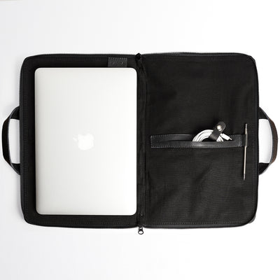 Linen interior. Black laptop portfolio. Business document organizer for men.