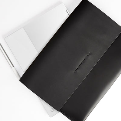 Handmade folio. ASUS Zenbook Pro Duo Black leather case with pen holder. ASUS laptop mens folio