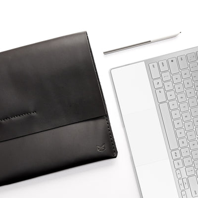 Open . ASUS Zenbook Pro Duo Black leather case with pen holder. ASUS laptop mens folio