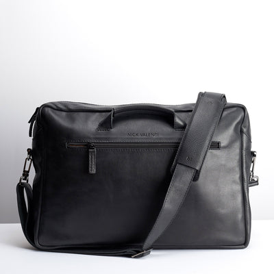 Back black handmade leather messenger bag for men. Commuter bag, laptop leather bag by Capra Leather.