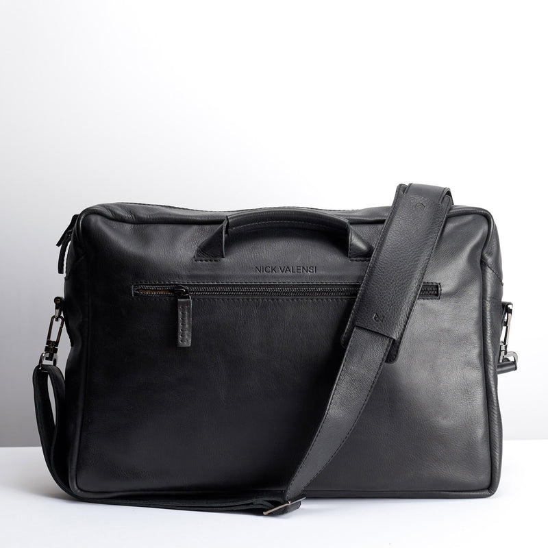 Front. Black handmade leather messenger bag for men. Macbook Pro 13inch 15 inch leather bag. Unique mens bag