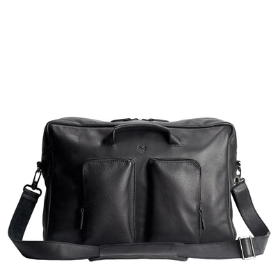 Front black handmade leather messenger bag for men. Commuter bag, laptop leather bag by Capra Leather.