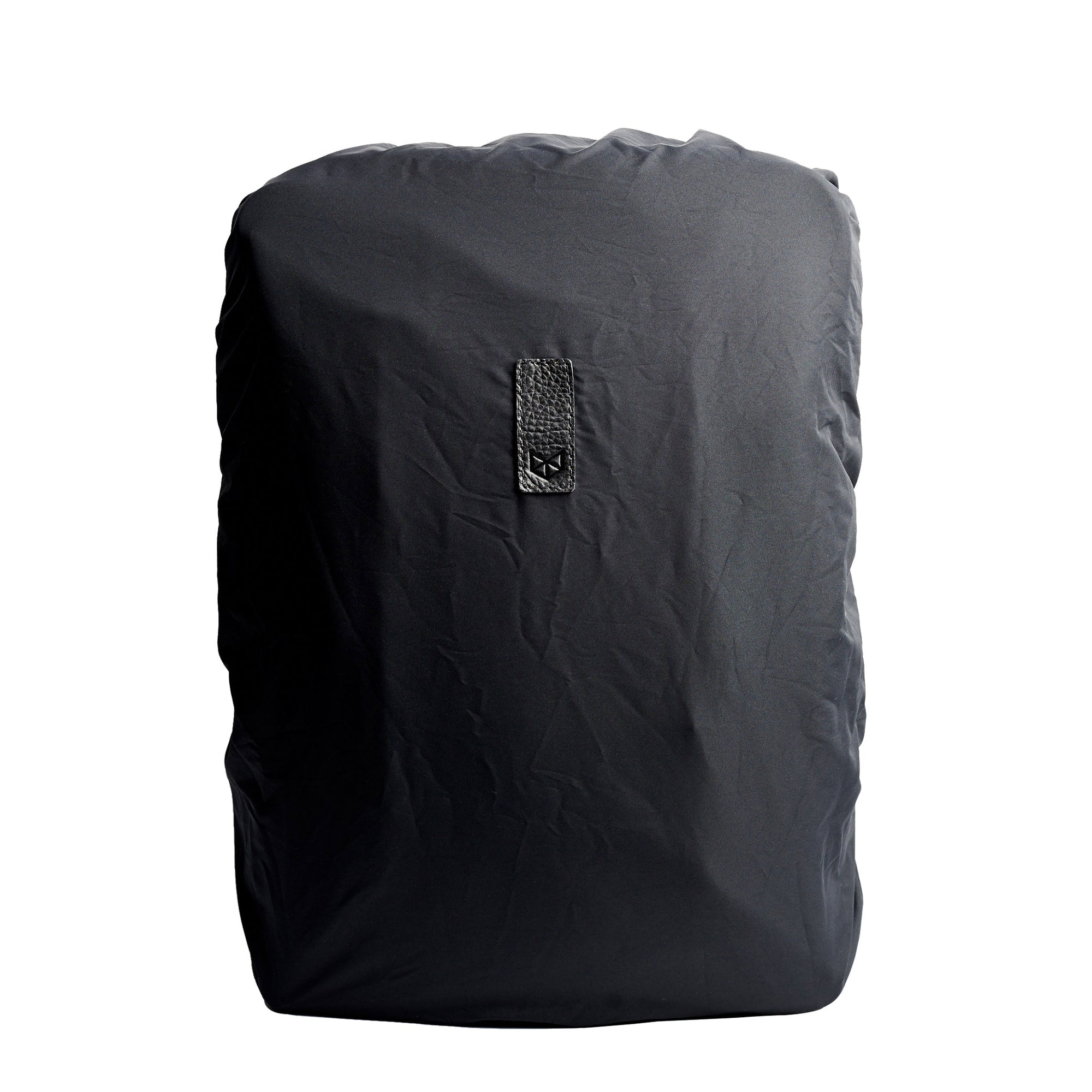 Black rain cover for leather backpacks. Mens backpacks accessories