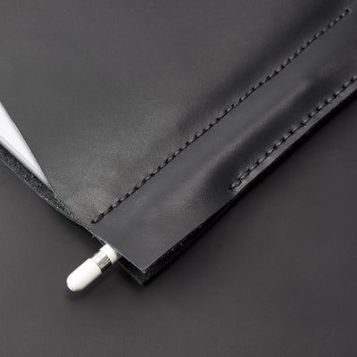 iPad pro black leather sleeve. hand stitched iPad pro leather sleeve. iPad cover, iPad protector, hand stitched cases for men