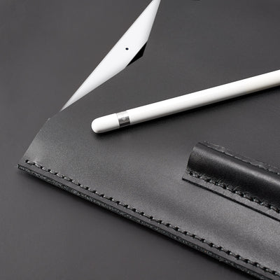 Hand stitch. Capra Leather iPad pro leather sleeve. Black leather sleeve for iPad pro 10.5 inch 12.9 inch. Mens gifts