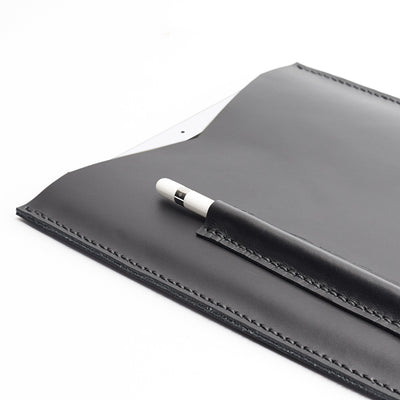 Detail. Capra Leather iPad pro leather sleeve. Black leather sleeve for iPad pro 10.5 inch 12.9 inch. Mens gifts