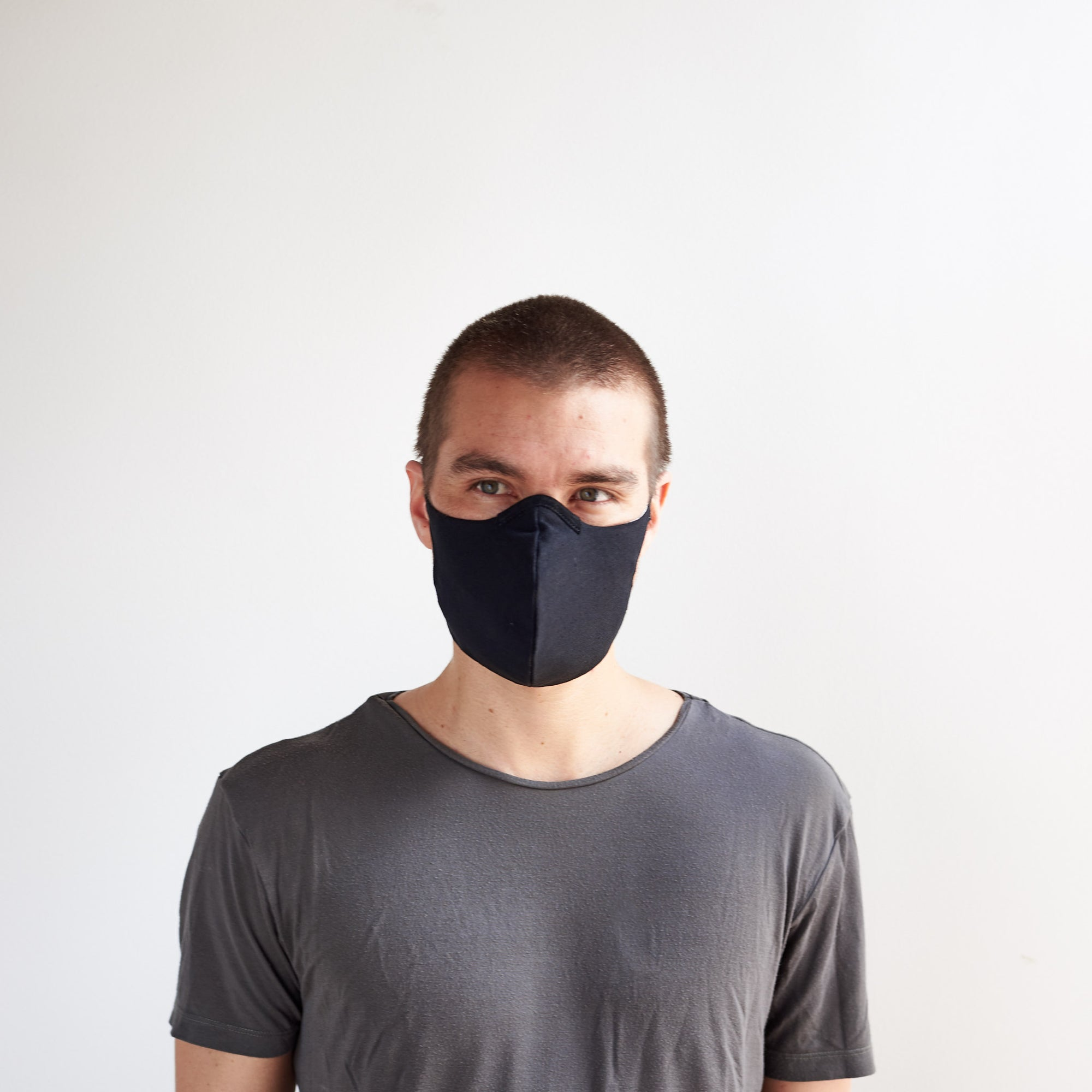 Front view. Black Linen Face Mask by Capra Leather