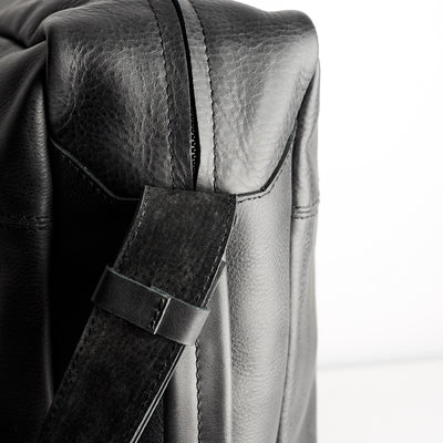 Suede texture. Back handmade leather messenger bag for men. Commuter bag, laptop leather bag by Capra Leather.