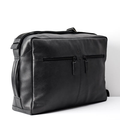 Side. Back handmade leather messenger bag for men. Commuter bag, laptop leather bag by Capra Leather.