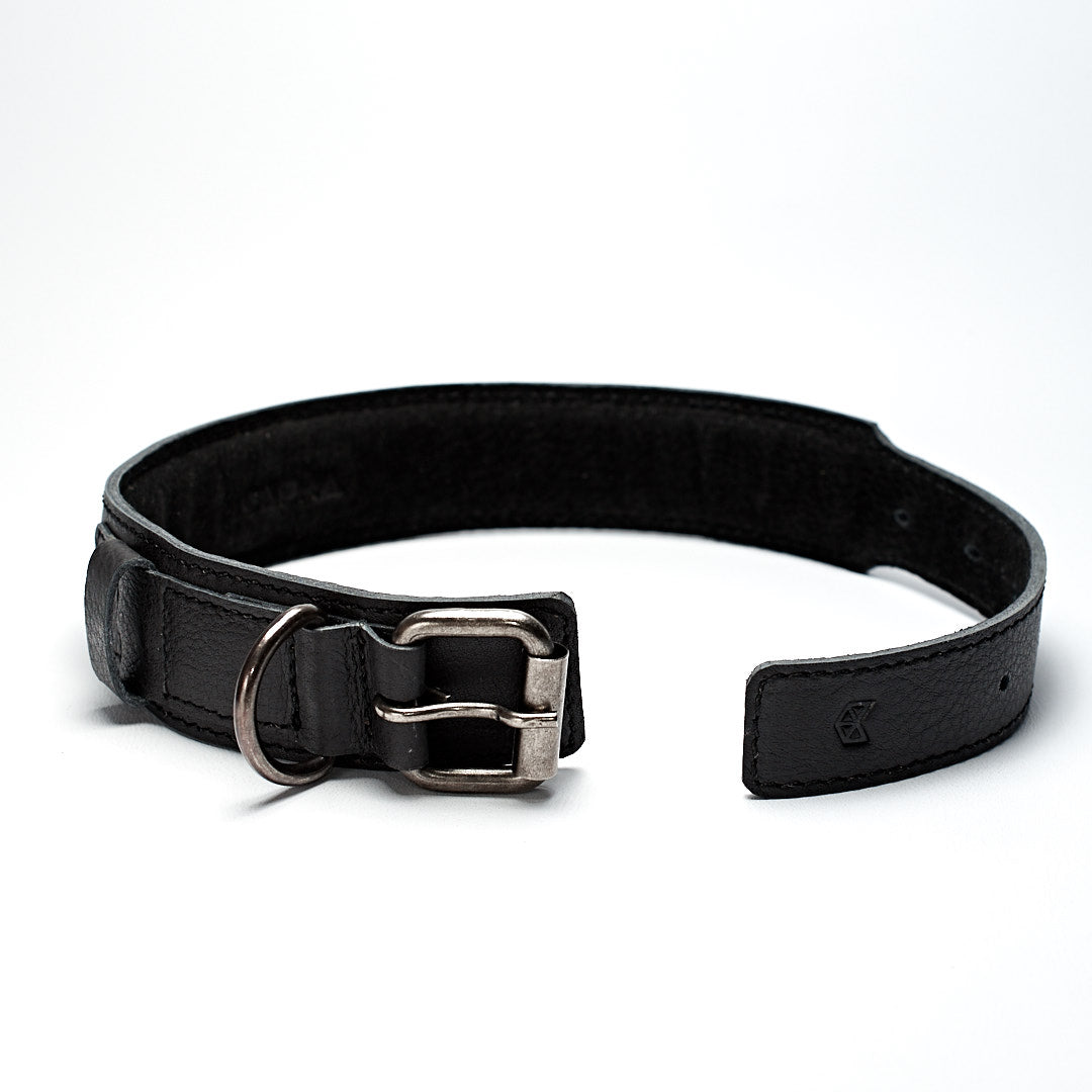 Handmade minimal black leather padded dog collar. Custom pet collar. Leather dog , cat collar