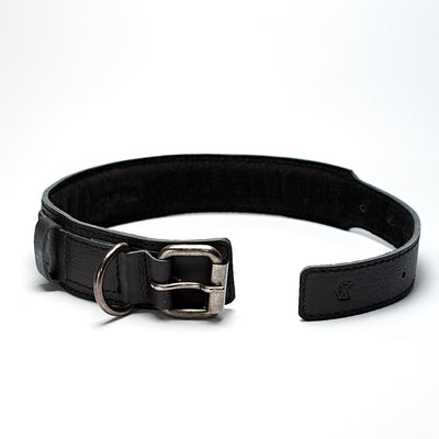 Open handmade minimal black leather padded dog collar by Capra Leather.