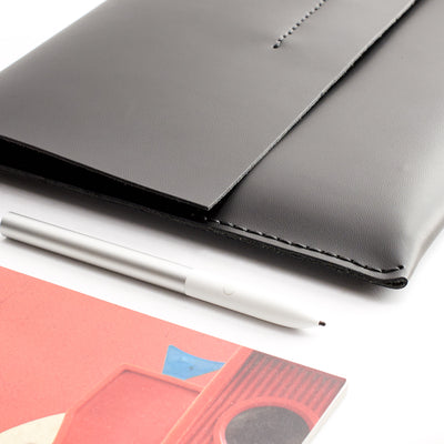 Style. black leather. ASUS Zenbook Pro Duo Black leather case with pen holder. ASUS laptop mens folio