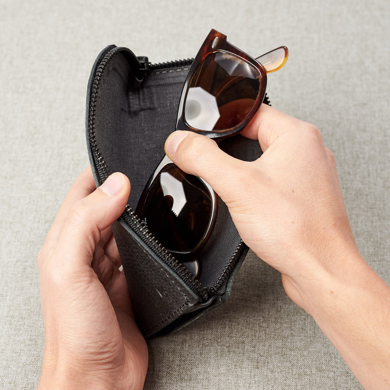 Gifts for men. Black leather Glasses case, sunglasses case, hand stitched leather sleeve for reading glasses