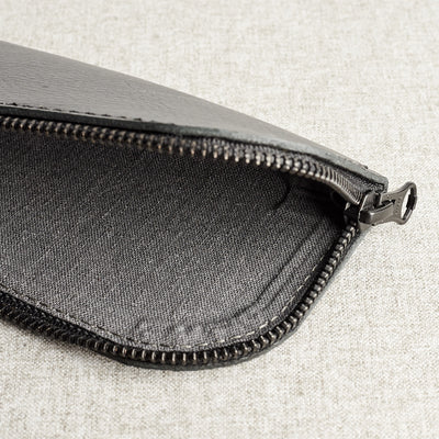 Style linen interior. Black leather glasses case for men. Custom handmade leather sleeve for mens glasses