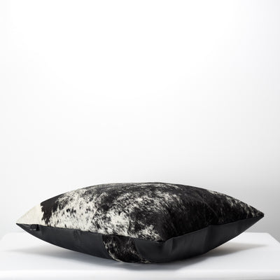 Black Dual Leather Cowhide Cushion. Couch decoration, lounge, bench, sofa cushion covers, custom size, pillow.