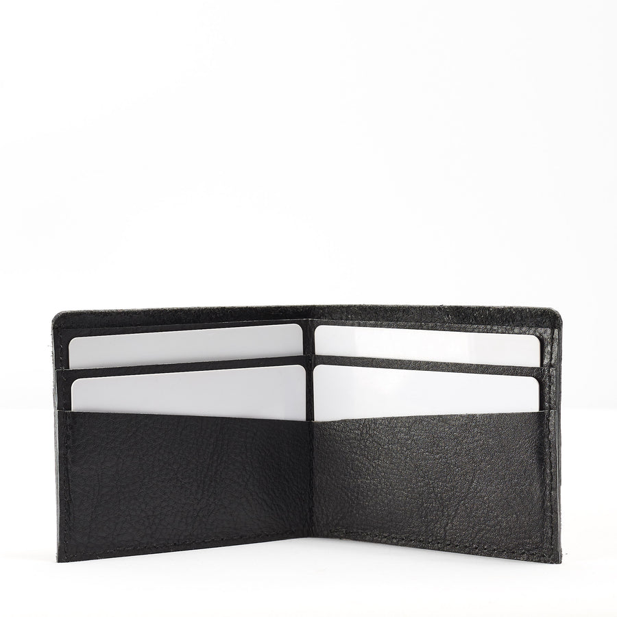 Black leather slim wallet for men. Perfect gift for men. Minimalist thin card holder for mens gifts