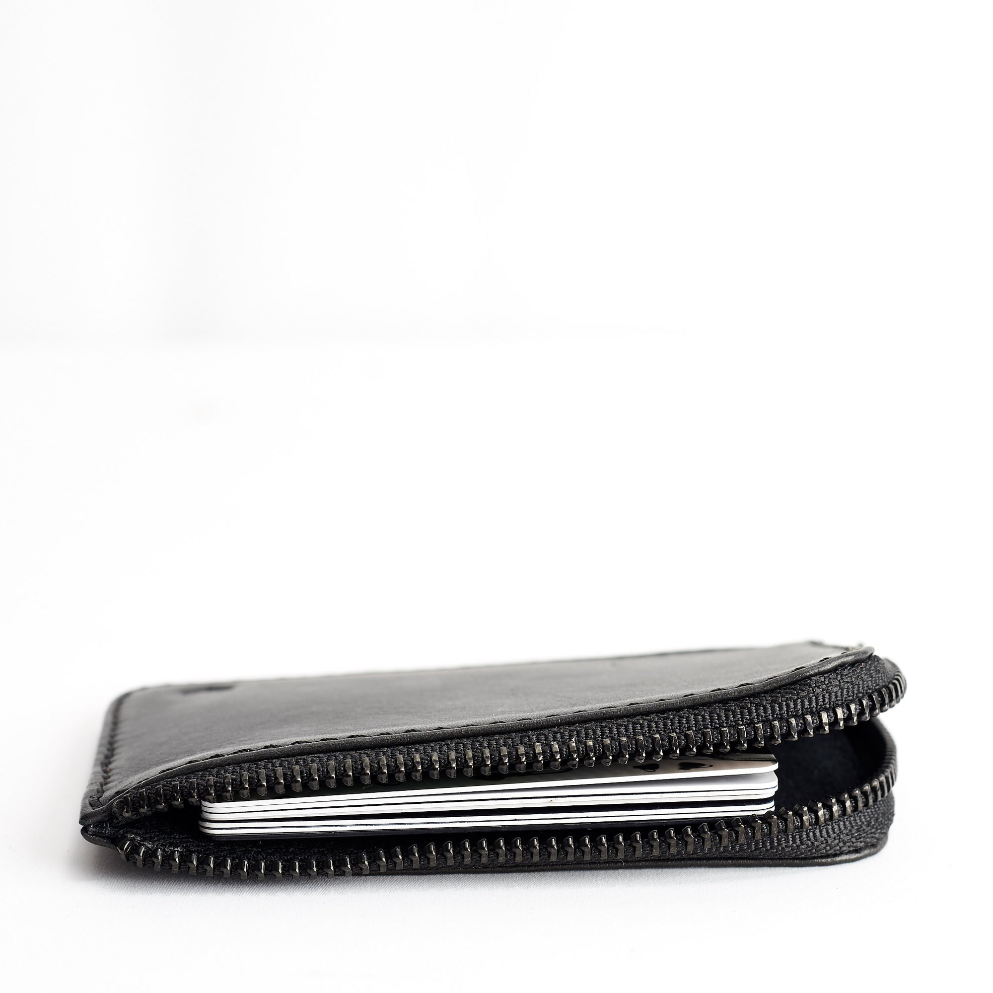 Handmade Zipper Card Holder · Black by Capra Leather